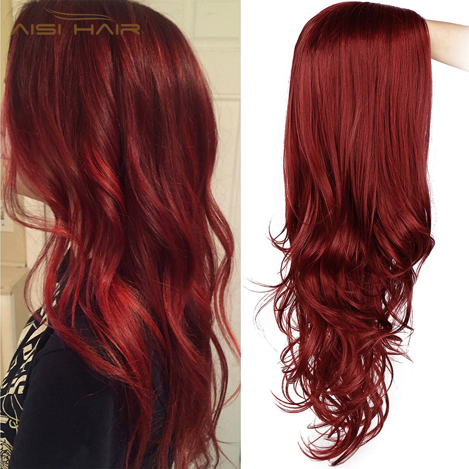 I's A Wig Long Red Wavy Wigs Black Pink Synthetic Wigs Natural Heat Resistant Fiber Hair For Black Women Can Be Cospaly