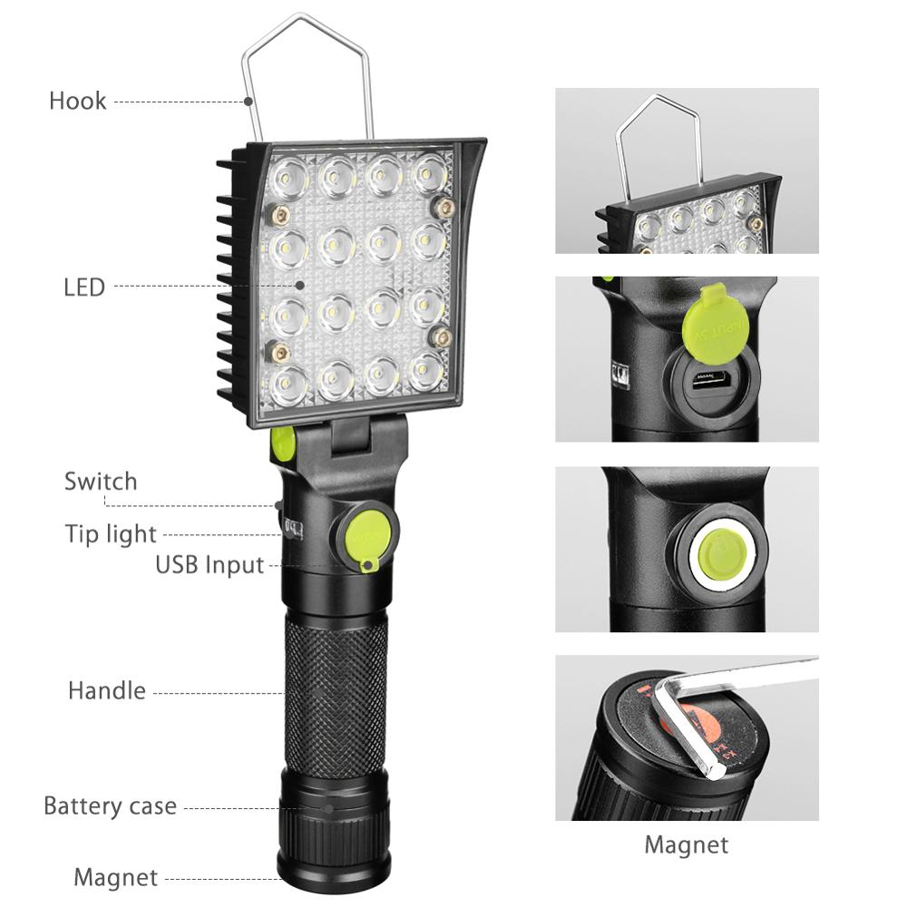 Image 2 - 16 LEDs Work Flashlights White Red Blue Light Car Repair Working Lamp USB 18650 Torch Built in Magnet Hook Tent Camping Lantern-in LED Flashlights from Lights & Lighting