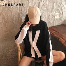 Cheerart Double-Sided Pullover Sweatshirt Women Long Sleeve Hoodies Casual Korean Black White Autumn 2019