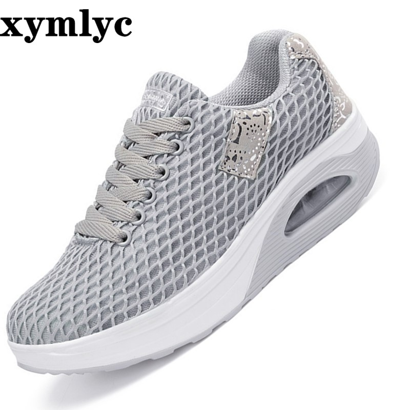 2019 summer new breathable big net fashion sports shoes Korean mesh thick platform women 39 s shoes mujer in Women 39 s Flats from Shoes