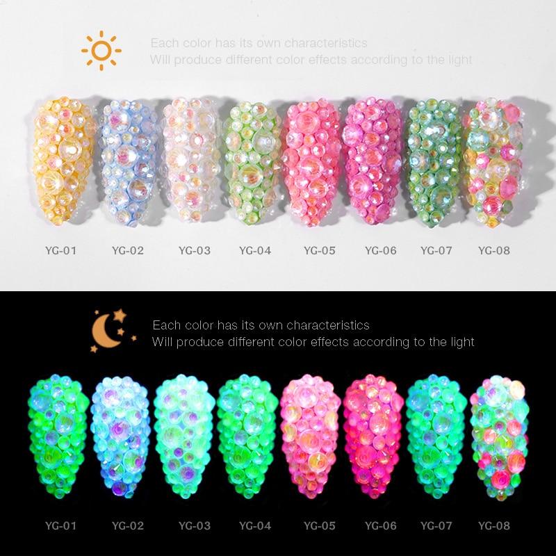 Feilang Luminous Crystal Mixed Size SS6-SS20 Nail Art Rhinestone Glitter Diamond Jewelly Glow In The Dark