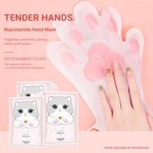 Masque pour les mains à griffes de chat, 1 paire, masque pour les mains à la Niacinamide, soins pour la peau, exfoliants, tendre, hydratant, éclaircissant, TSLM1