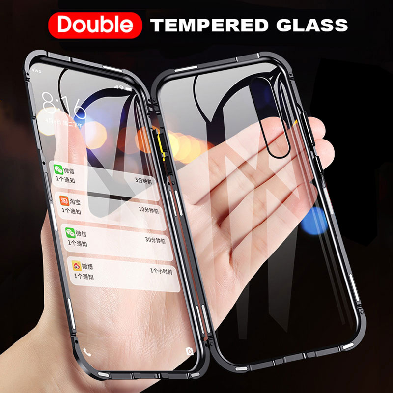 Double Sided <font><b>Glass</b></font> Magnetic Adsorption <font><b>Case</b></font> for <font><b>Samsung</b></font> M30S M21 A30S A50S M10S A10S A20S A90 A70 <font><b>A50</b></font> A20 A30 Metal Bumper Cover image
