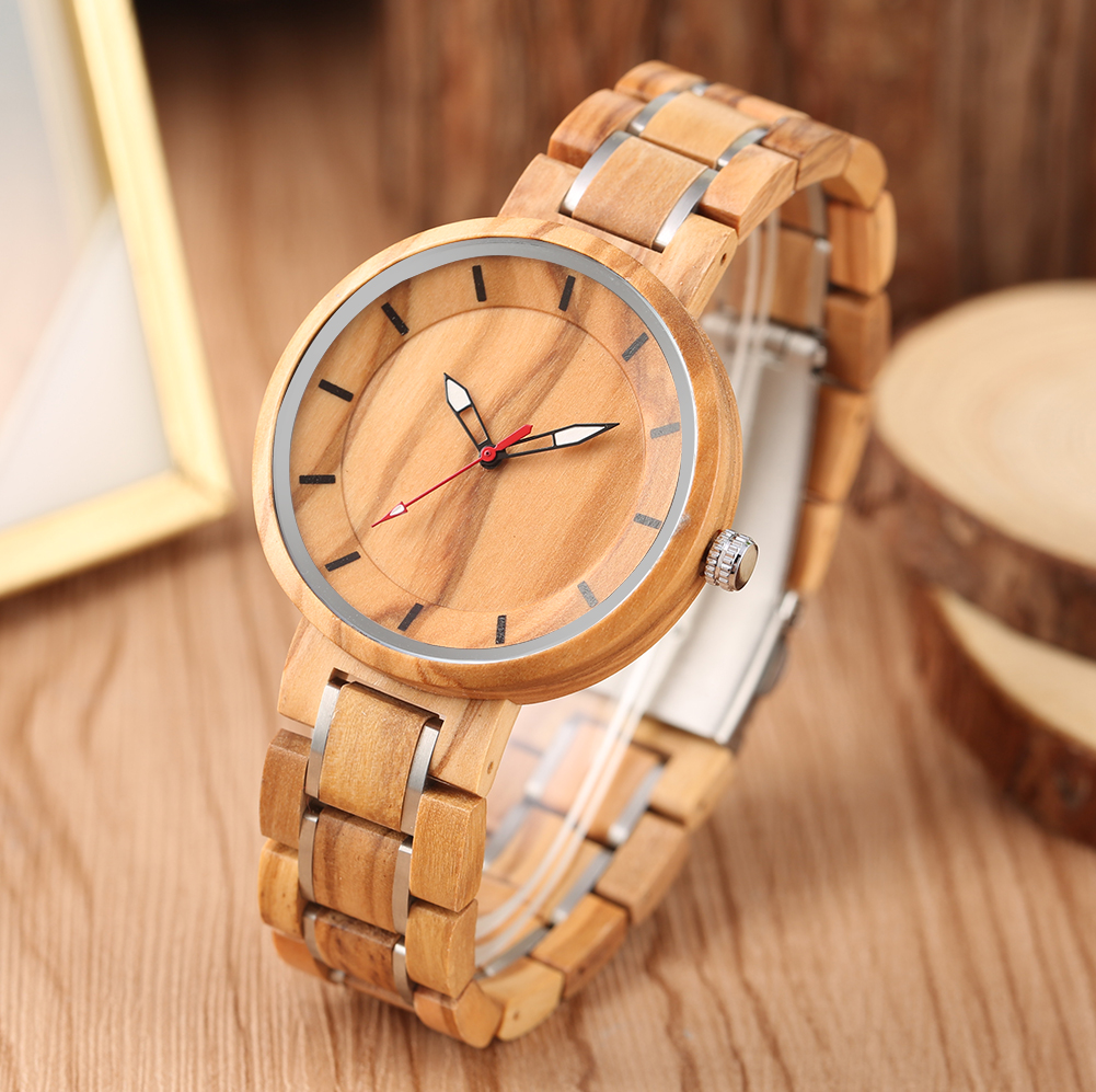 Stylish Stainless Steel Band Women Wooden Watches for Men Luminous Pointers Concise Dial Quartz Wood Wristwatc horloge dames