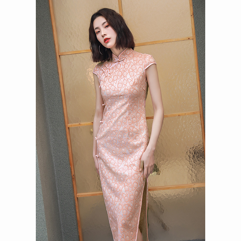 2020 Chinese Dress Print Sexy Split Bandage Long Qipao Chinese Dress Traditional Cheongsam Party Dresses Nightclub Dress