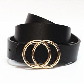 Lujo marca círculo Pin hebillas cinturón femenino deducción lado oro hebilla jeans...