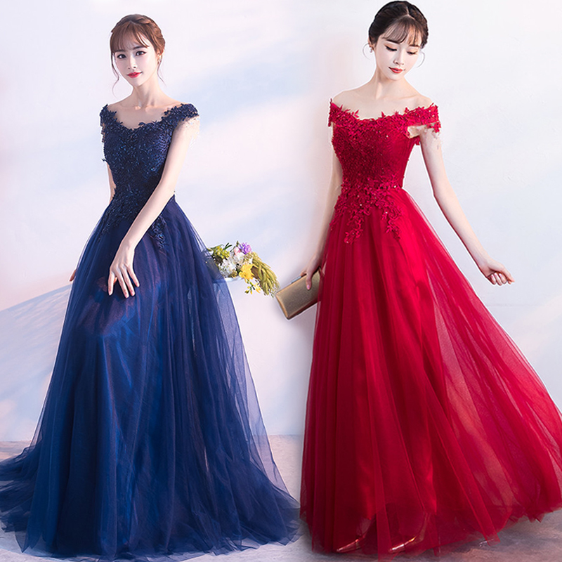 Royal Blue Bridesmaid Dresses Elegant Vestido Azul Marino Guest Wedding Party Dress Off The Shoulder Sexy Prom Dress Embroidery