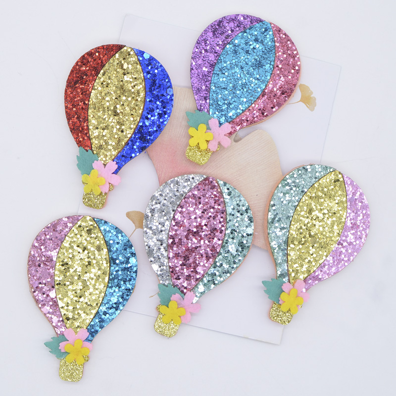 10Pcs 43*65mm Glitter Fabric Applique Hot Air Balloon Nonwoven Padded Patches for Headwear Hat Stickers DIY Hair Clips Decor P08