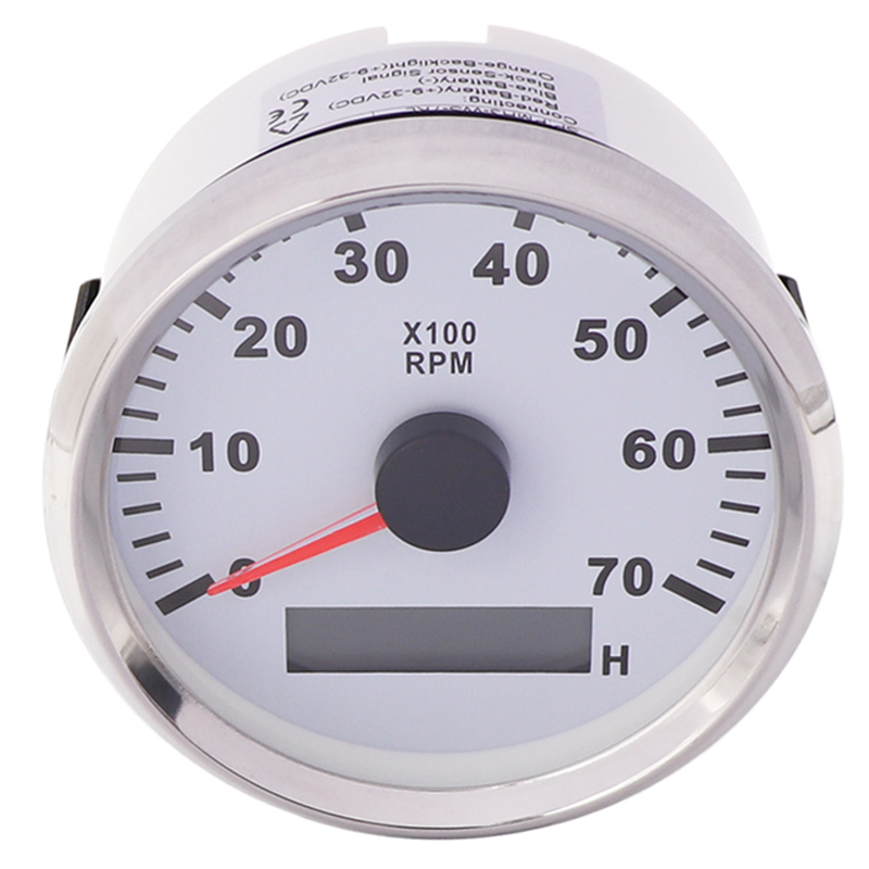 85 mm REV Counter for Outboard Motor Boat Auto Tach Electric Motor Tachometer 7K RPM with Hour meter  Red Backlight