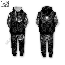 men for women Viking tattoo 3d all ove Printed Set hoodie Unisex streetwear hip hop Tracksuit Cosplay costumes style-7