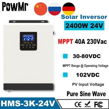 Inversor Solar híbrido de 3000VA y 2400W, Inversor de onda sinusoidal pura de 24VDC y 220Vac, cargador CA de 30A y regulador Solar MPPT 40A 1