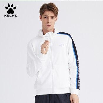 KELME Men's Hoodies Men Single Side Stripe Zipper Sweatshirt Male Streetwear Casual White Hoodie Men Hooded Coat худи 36931047