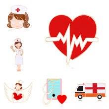 13 stilleri hemşire doktor broşlar emaye Pins tıbbi kalp kırmızı çapraz pimleri doktor ve hemşire için takı yaka Pin çanta rozet hediyeler