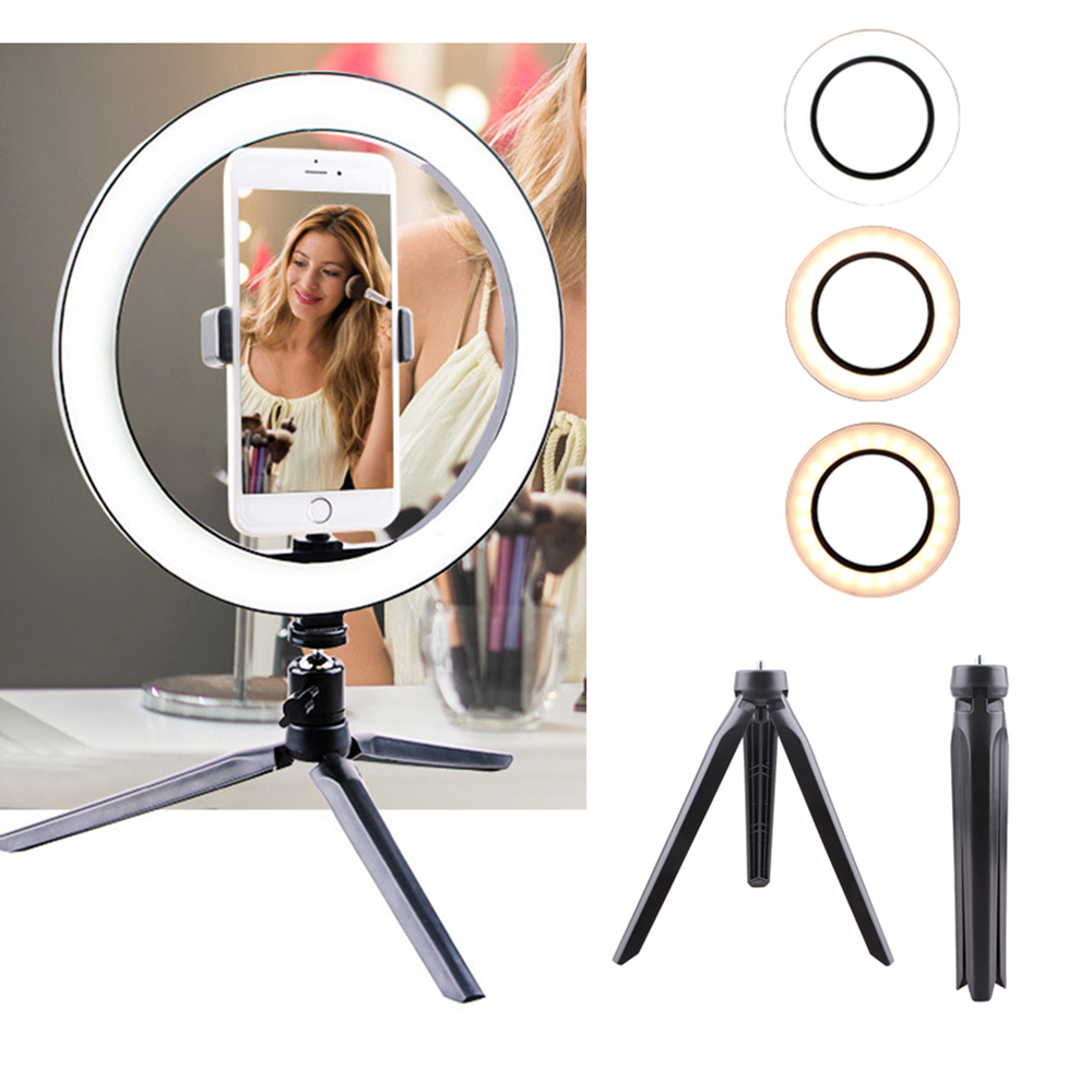 26CM LED Selfie Ring Light three-speed Stepless Lighting 2700K-6500K Dimmable With Table Tripods For Makeup Video Live Studio