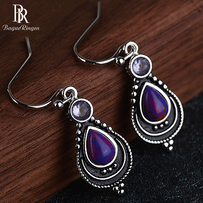 Bague Ringen Silver 925 Earrings With Water Drop Shaped Charoite Stone For Women Fashion Korean Elegant Jewelry Gift Wholesale