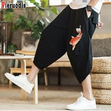 Мужские новые Мешковатые Свободные Брюки с вышивкой карпа, мужские джоггеры, корейская мода, повседневные брюки, летние пляжные укороченные брюки 5XL