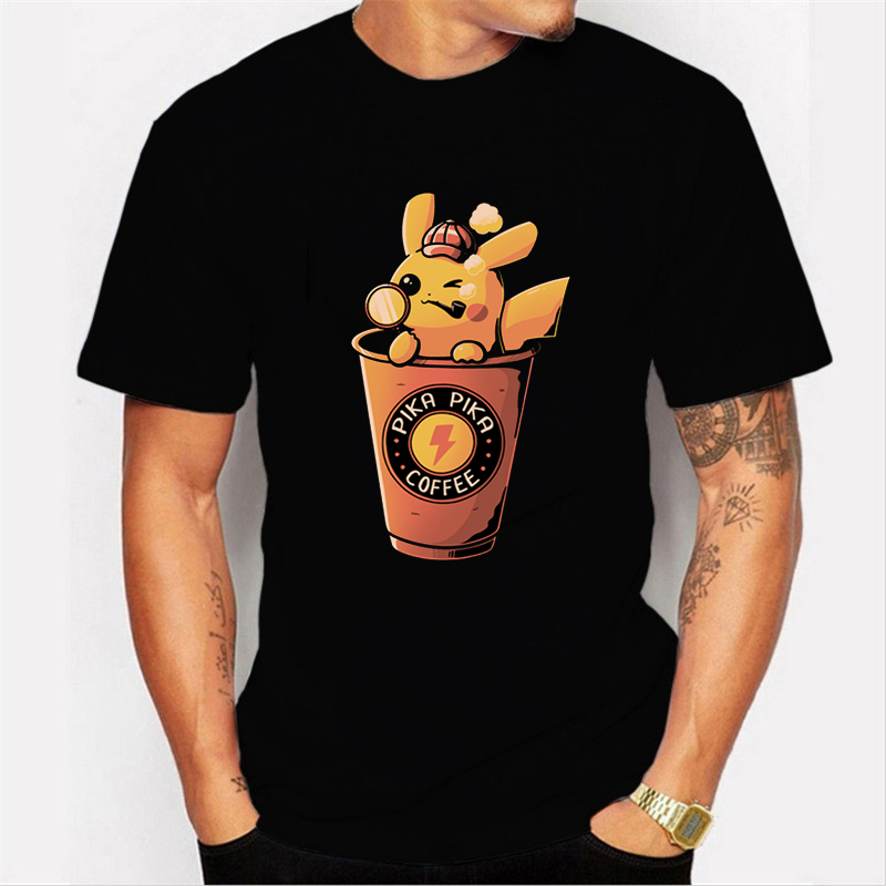 Oversized T Shirt Men Short-sleeve Tee Tops Pokemon Cotton shirt Male tops pikachu Streetwear Homme Loose T-shirt Funny T Shirts image