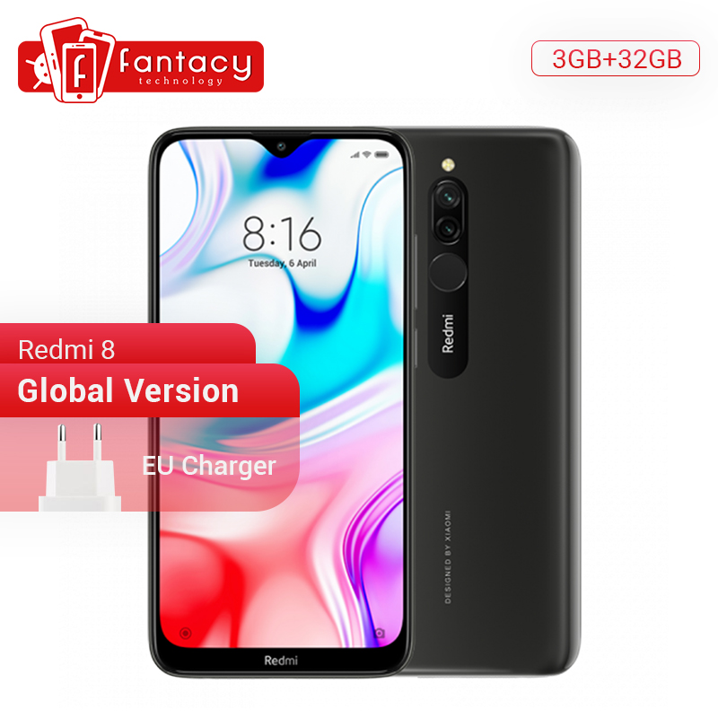 Global Version Xiaomi Redmi 8 3GB 32GB Snapdragon 439 Octa Core 12MP Dual Camera Mobile Phone 5000mAh Large Battery OTA