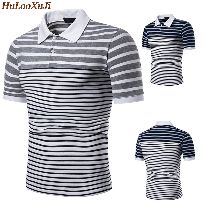 HuLooXuJi Brand Fashion Men Summer   Polo   Shirts Short Sleeve Male Cotton Striped Breathable Tops Tees US Size:S-2XL
