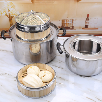 Commercial thick stainless steel steamer pot Chinese steamed dumplings Jiaozi steamer pankitchen tool soup stewpot Sha County