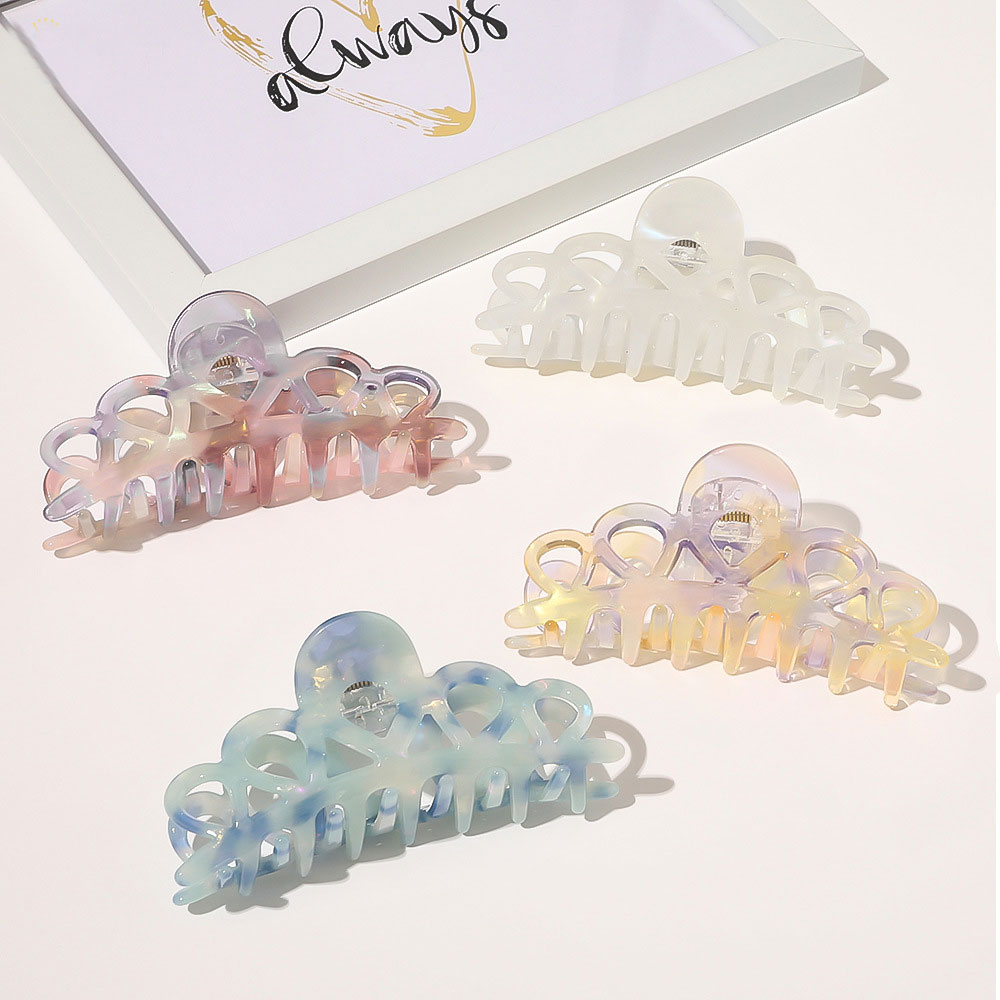 Korean French Women Girls Geometric Acetate Hair Claw Clamps Plastic Hair Crab Claws Clips Hairpin Large Size Hair Accessories