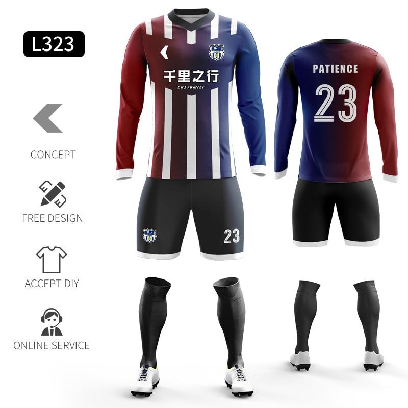 Custom Football Jerseys Full Sublimation Printing Soccer Jerseys Club Team Football Training Uniform Suit Soccer Uniform For Men 23