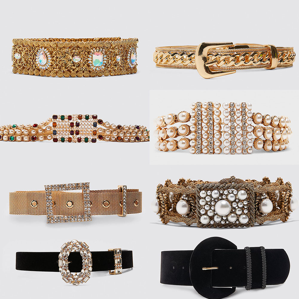 Girlgo New Design ZA Large Metal Buckle Belts For Women Bohemia Colorful Crystal Belly Chian Christmas Wedding Waist Jewelry