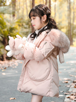 High Quality Girls Winter Coat with Gloves Thick Girls Snowsuit Outdoor Large Pocket Hooded Long Children Parkas Christmas Gift