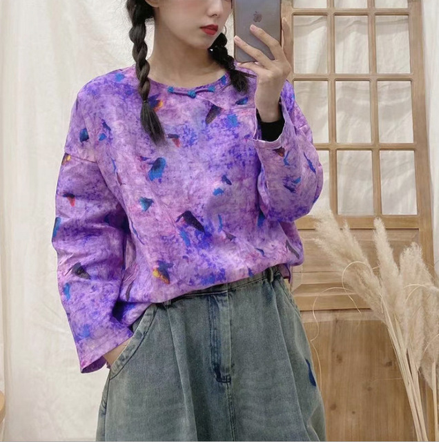 2021 New Blouse Spring Retro Women Pullovers Shirt Tops O-Neck Print Loose Casual Tops Vintage Blouse 2