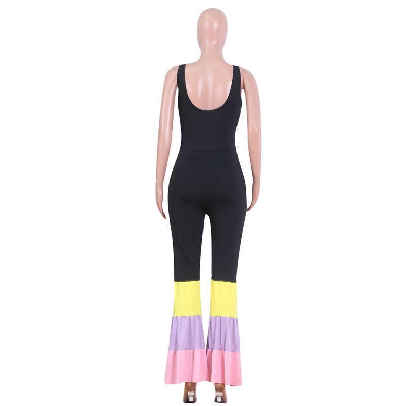 Осень 2019 новая неоновая мода Nova женский комбинезон корейский стиль пэчворк женские брюки клёш комбинезон боди Дамский гаремный комбинезон