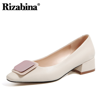 Rizabina Women Pumps Genuine Leather Square Heel Shoes Fashion Elegant Office Ladies Footwear Size 33-40