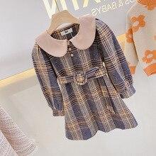 Mihkalev/Детские платья для девочек; осенняя одежда; детское платье с длинными рукавами для девочек; платье в клетку с сеткой; одежда для малышей