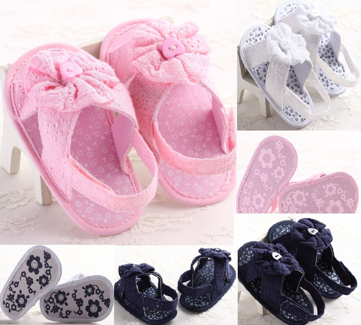 Cute Newborn Baby Girls Shoes 0~18M Baby Summer Infant Toddler Girls Flower Shoes Cotton Fabric Sandals