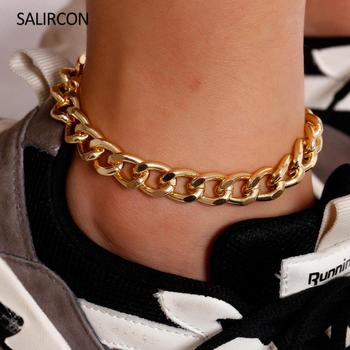 Salircon Simple Anklet Bracelets Foot Jewelry Gold Color Cuban Link Chain Chunky Anklet For Women Girls Fashion Beach Accessory 2020 new women s fashion cuban link anklets jewelry alloy shell bohemia beach gold anklet wholesale best friend gifts