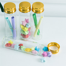 20 pcs 30x100x21 mm Small Glass Bottles With Golden Screw Cap DIY 50ml Empty Wishing Stars Containers Jars