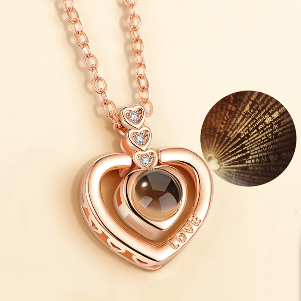 Projection Pendant Necklace Memory Rose-Gold Silver 100-Languages Romantic Love Love-You