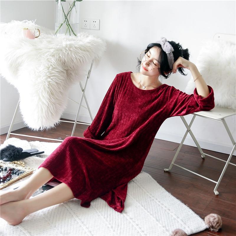 Women's Sleepwear Women's Autumn And Winter New Style Nightdress Long-Sleeve Thick-Home Wear Warm Plush Pajamas Korean-style Loo