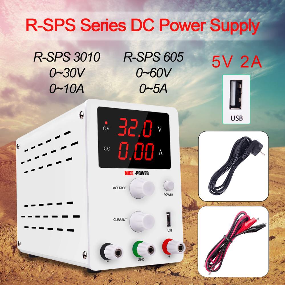 Laboratoire alimentation réglable 60V 5A 30V 10A laboratoire tension régulateur Source commutation Mini unité tension stabilisateur 110v 220v