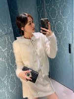 2020 autumn high quality women mohair knitted cardigans coat ladies luxury sweater gdnz 8.20
