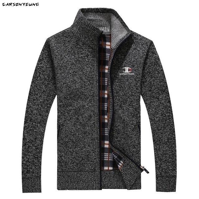 Зимний мужской толстый свитер на молнии с подкладкой и высоким воротником 2