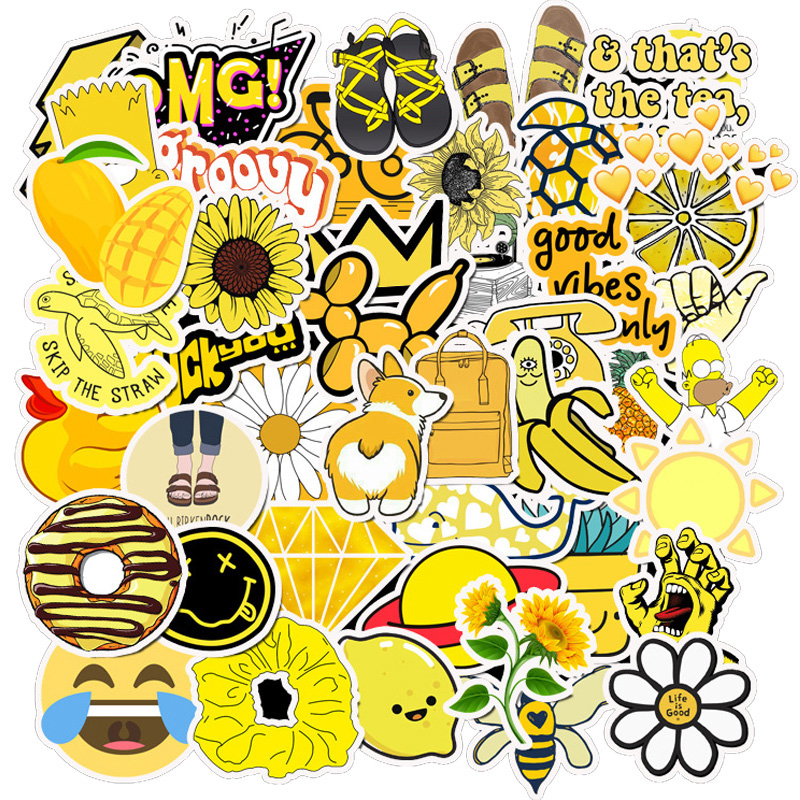 50PCS Summer Yellow Vsco Stickers Pack Cool For On The Laptop Fridge Phone Skateboard Travel Suitcase Luggage Cute Sticker