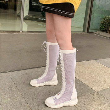 Breathable Sneakers Women Lace Up Mesh Wedges Gladiator Sandals Female Summer Round Toe Chunky Platform Pumps Shoes Casual Shoes