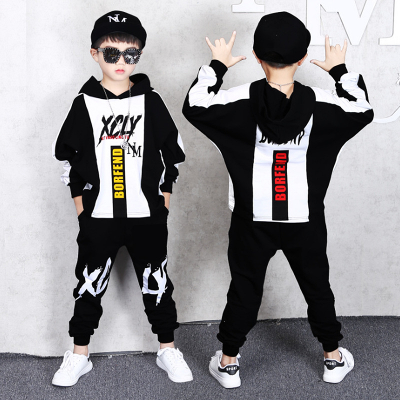 2 Pieces Big Boys Clothing Set Cotton Fashion Long sleeves Hoodies Haren Pants Yellow Black outfits For 6 8 10 12 14 16 Years in Clothing Sets from Mother Kids