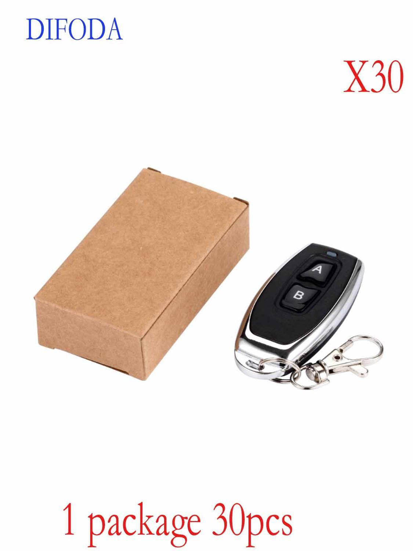 30 pcs RF 2 chave EV1527 Para Portão de Controle Remoto código de Aprendizagem 1527 Receptor de Alarme controlador da porta da garagem 433mhz bateria incluída