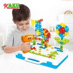 Diy elétrica broca parafuso grupo brinquedos porca desmontagem conjuntos de ferramentas crianças criativo 3d puzzle brinquedos educativos crianças presentes
