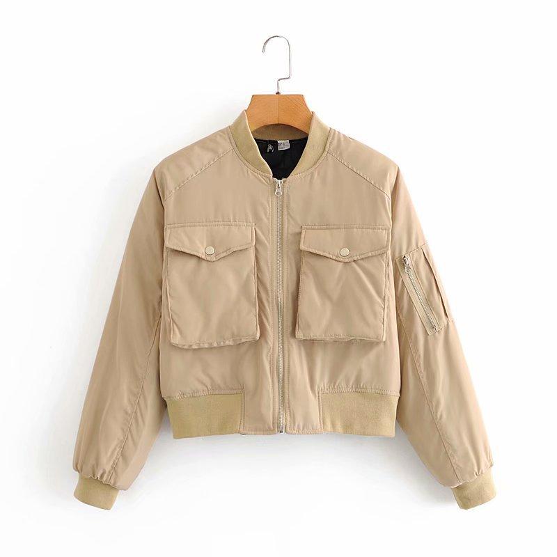 H53e69f52e87548dc9088b754ce058c818 2020 Autumn Women Short Baseball Jackets Casual Solid Zipper Loose Bomber Coat Female Outwear Tops Chaqueta Mujer
