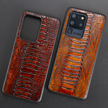 Leather Phone Case For Samsung S20 Ultra S10 S10e S7 S8 S9 Note 8 9 10 Plus A10 A20 A30 A40 A50 A70 A51 A71 Ostrich Foot Texture chocolates design glass case for samsung s7 edge s8 s9 s10 plus s10e note 8 9 10 a10 a30 a40 a50 a60 a70