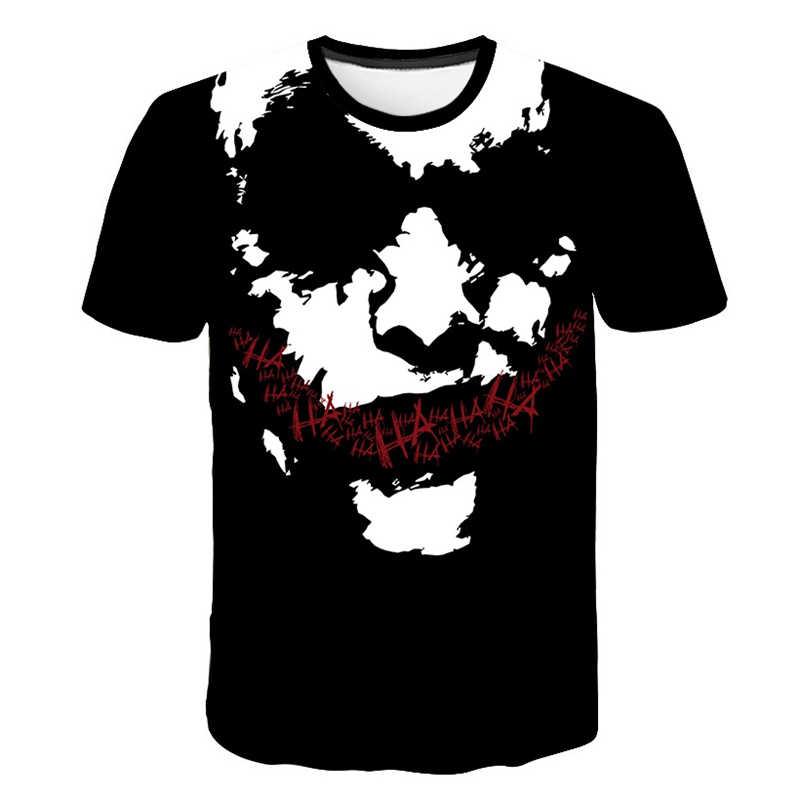 Samobójcze drużyny 3D męskie koszulki z nadrukiem Joker twarz Casual O-neck męskie tshirt Clown z krótkim rękawem Cosplay śmieszne koszulki Pokemon