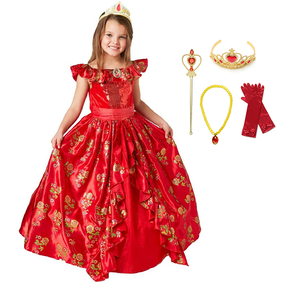 Elena vestido de princesa de luxo meninas fantasia traje crianças impresso floral lantejoulas vestido vermelho avalor crianças elena aventura roupas