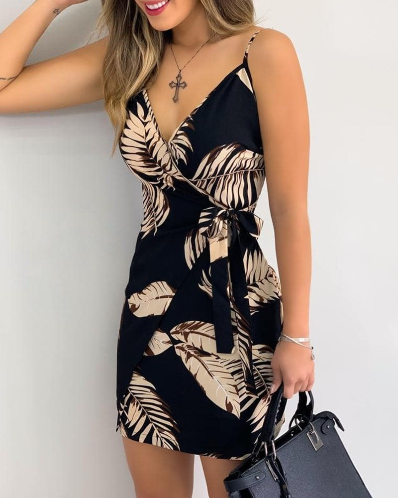 V Neck Leaf Print Mini Summer Dress Women Spaghetti Strap Casual Holiday Beach Dress